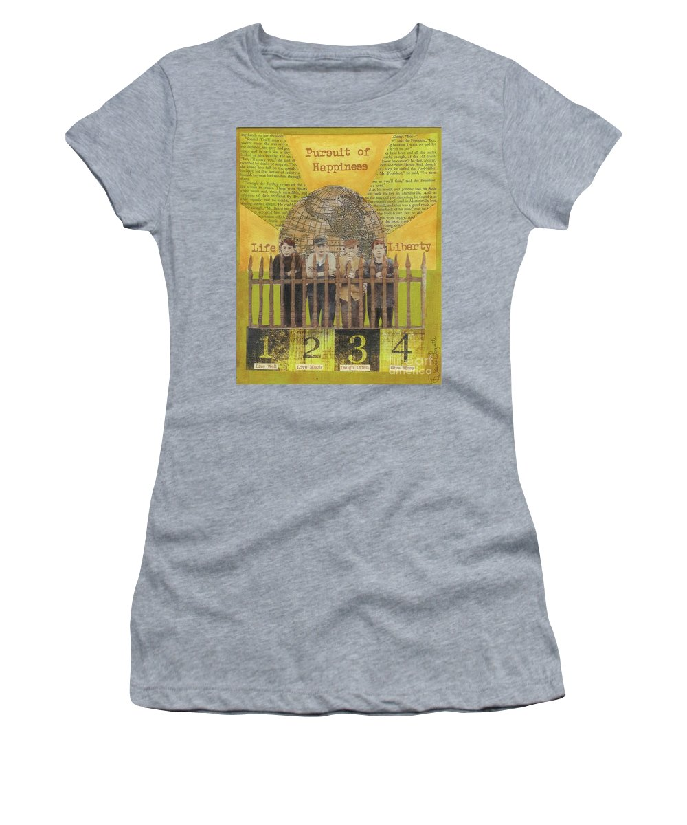 Gold Women's T-Shirt (Athletic Fit) featuring the mixed media Pursuit Of Happiness by Desiree Paquette