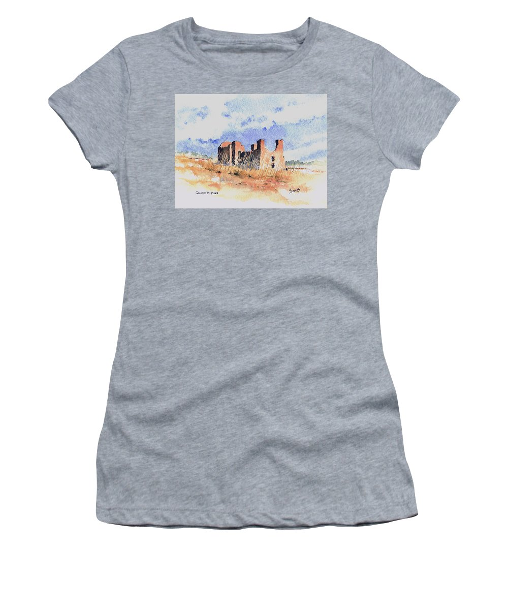 New Mexico Women's T-Shirt (Athletic Fit) featuring the painting Quarari Mission by Sam Sidders