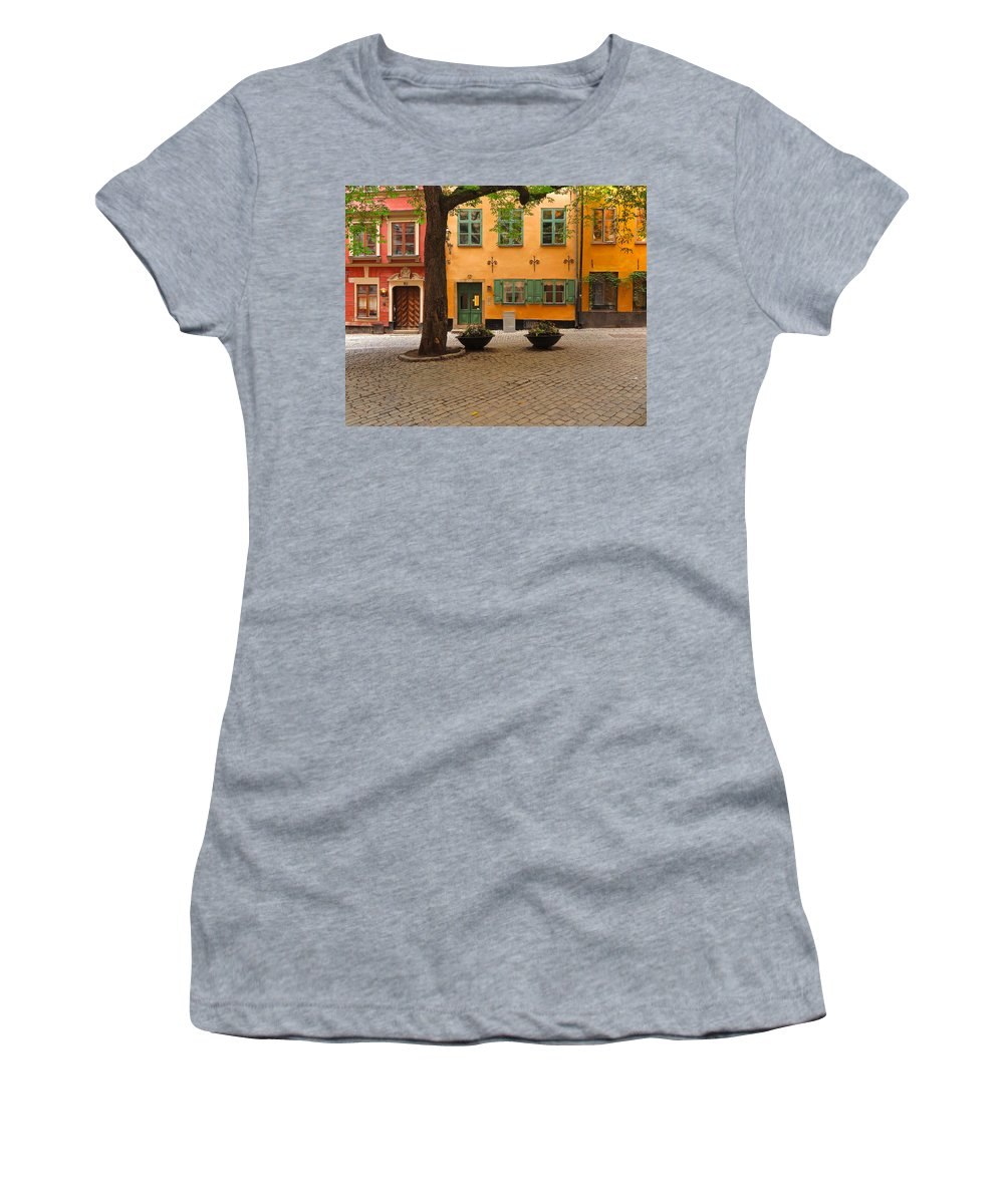 Square Women's T-Shirt (Athletic Fit) featuring the photograph Quiet Little Square In Old Gamla Stan In Stockholm Sweden by Greg Matchick