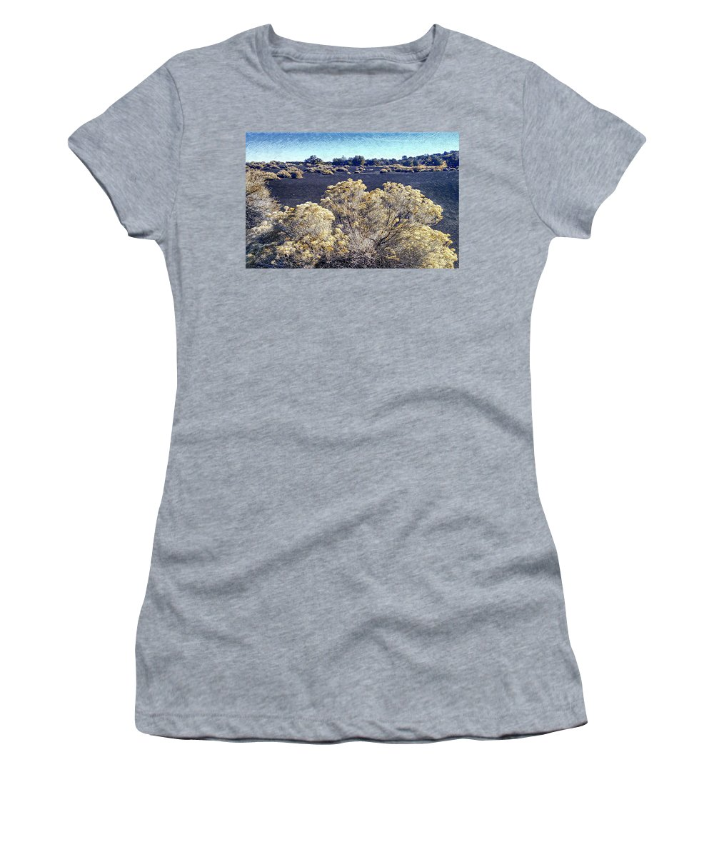 Rabbitbrush Women's T-Shirt (Athletic Fit) featuring the photograph Rabbitbrush In Winter by Jim Thomas