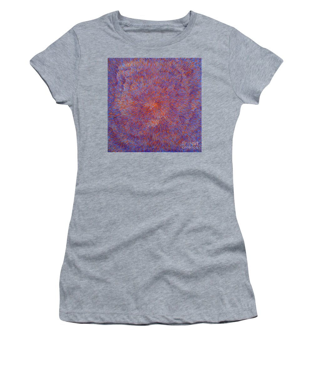 Abstract Women's T-Shirt (Athletic Fit) featuring the painting Radiation With Blue And Red by Dean Triolo