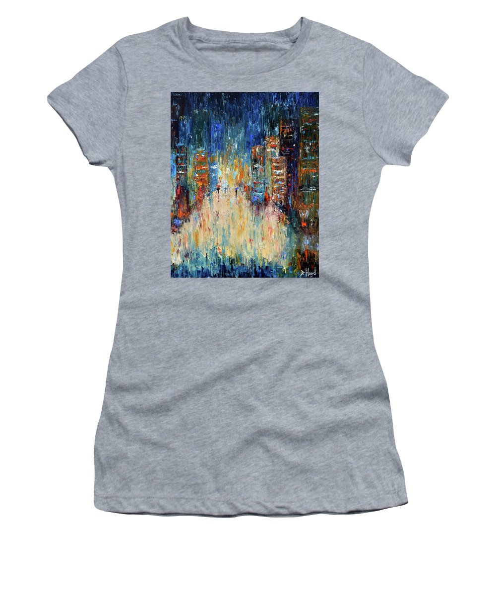 Abstract Painting Women's T-Shirt featuring the painting Rain Dance Blues by Debra Hurd