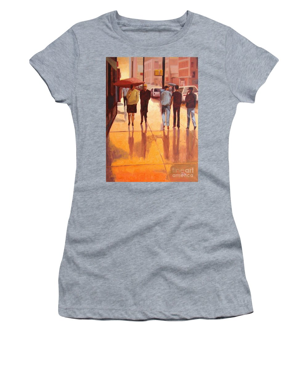 Manhattan Women's T-Shirt featuring the painting Rain in Manhattan number eighteen by Tate Hamilton