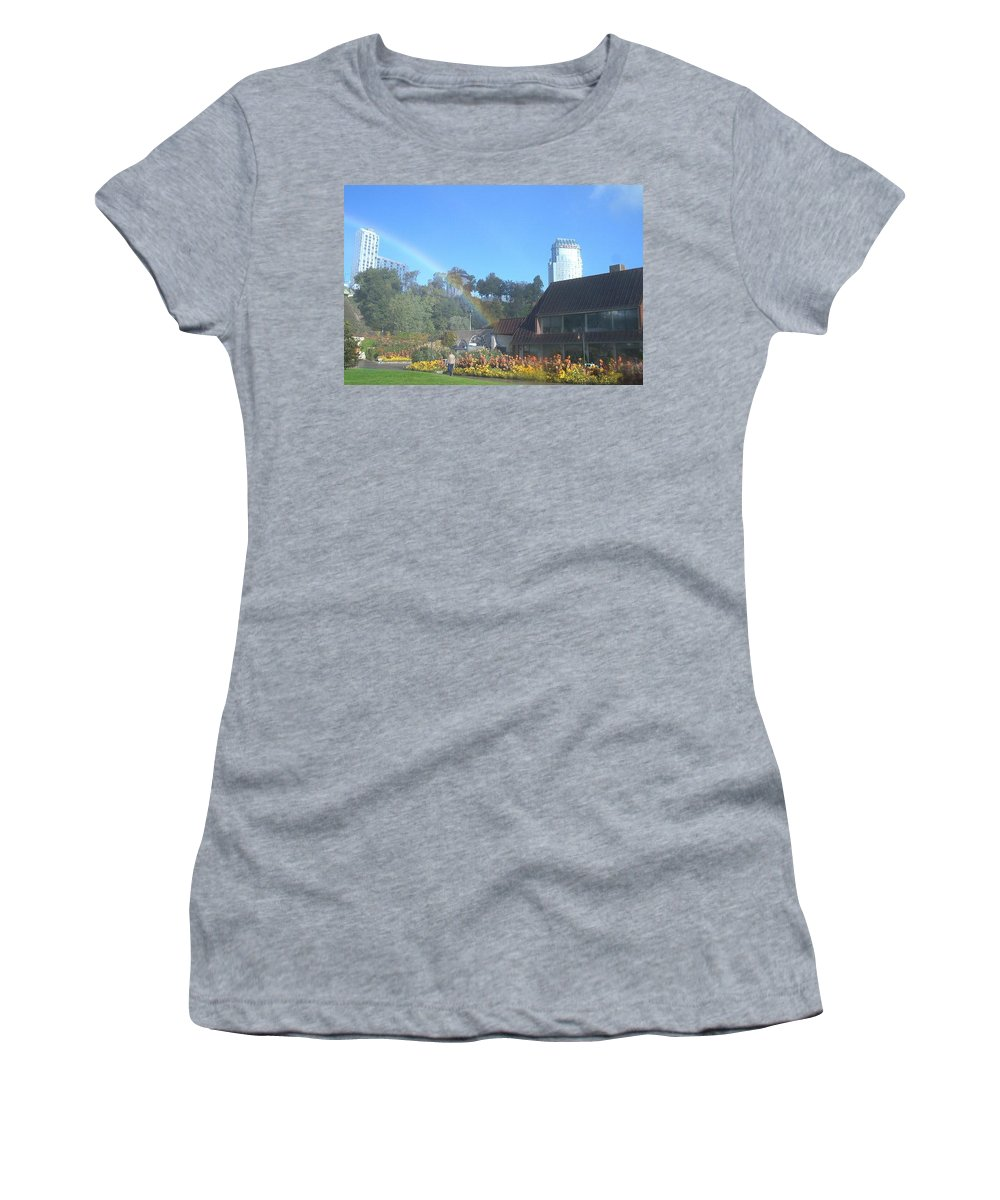 Rainbows Women's T-Shirt (Athletic Fit) featuring the photograph Rainbow At The Falls by Debbie Levene
