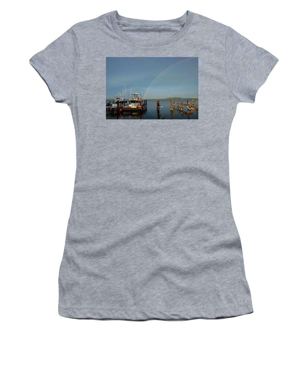 Rainbow Women's T-Shirt (Athletic Fit) featuring the photograph Rainbow In Apalachicola Fl by Susanne Van Hulst