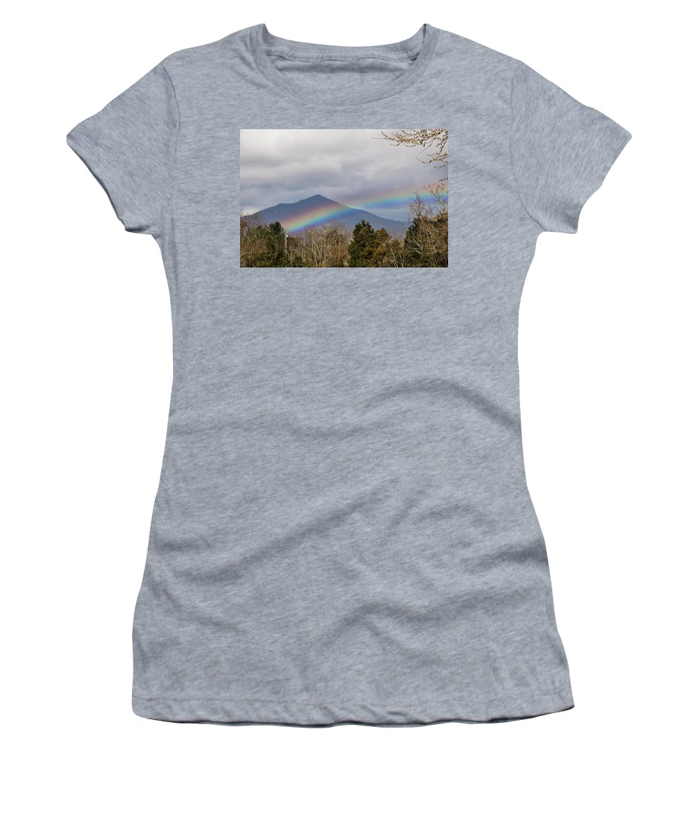 Rainbow Women's T-Shirt featuring the photograph Rainbow In Front Of Sharp Top by Sherri Quick
