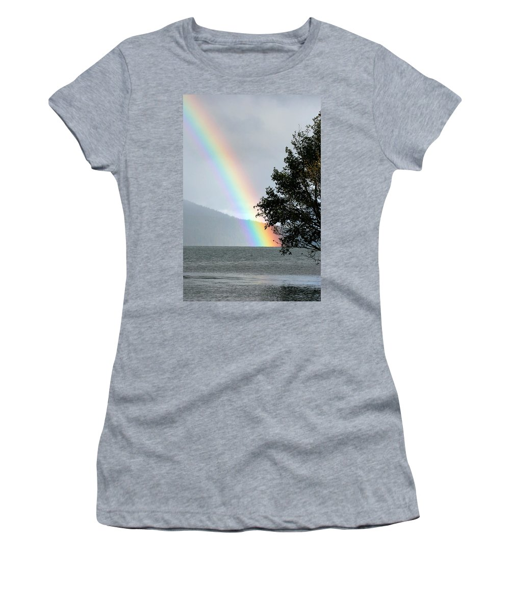 Color Women's T-Shirt (Athletic Fit) featuring the photograph Rainbow Over Odell by Randall Ingalls