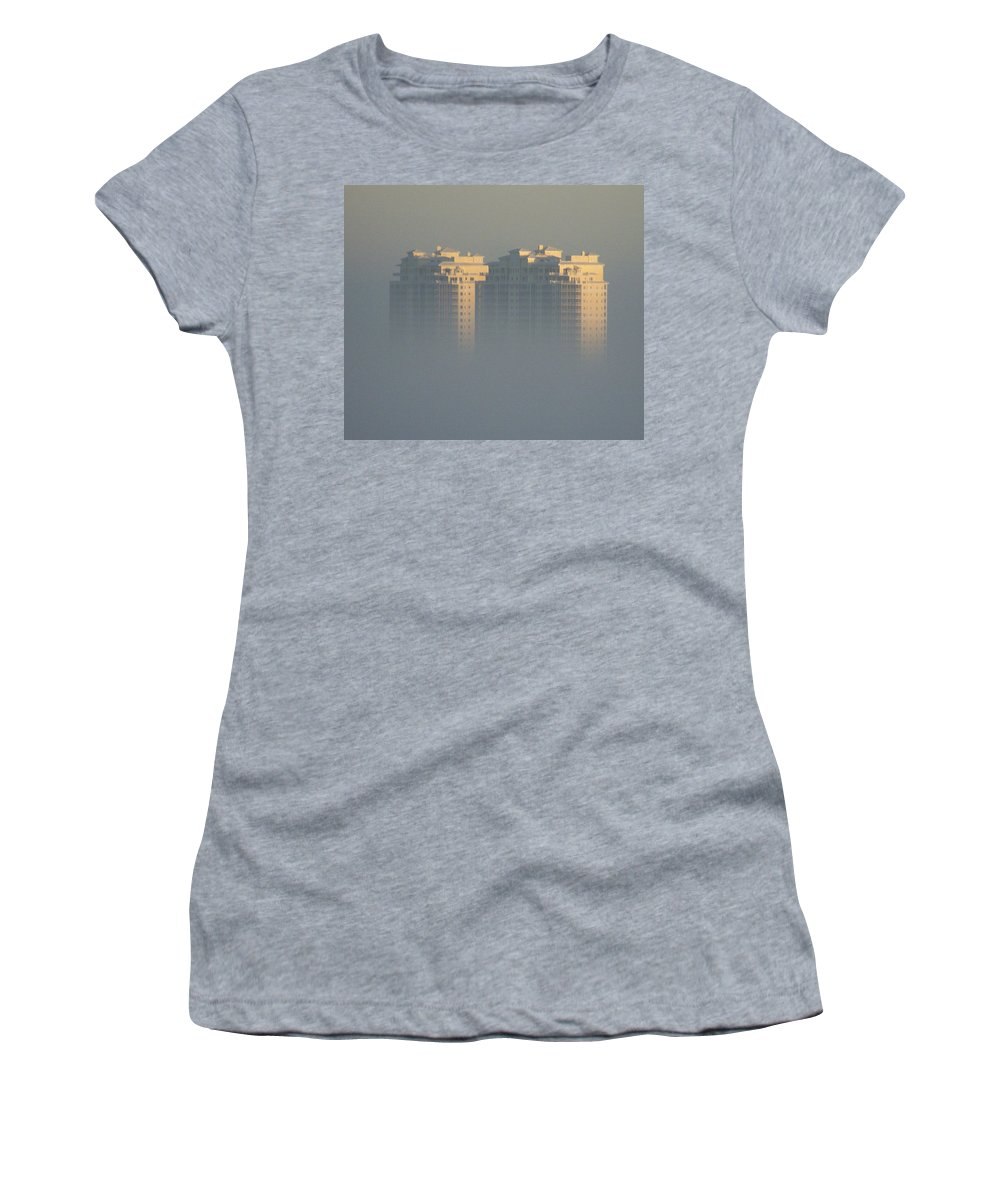 Raptor Bay Women's T-Shirt featuring the photograph Raptor Bay Morning Mist by Laurie Paci