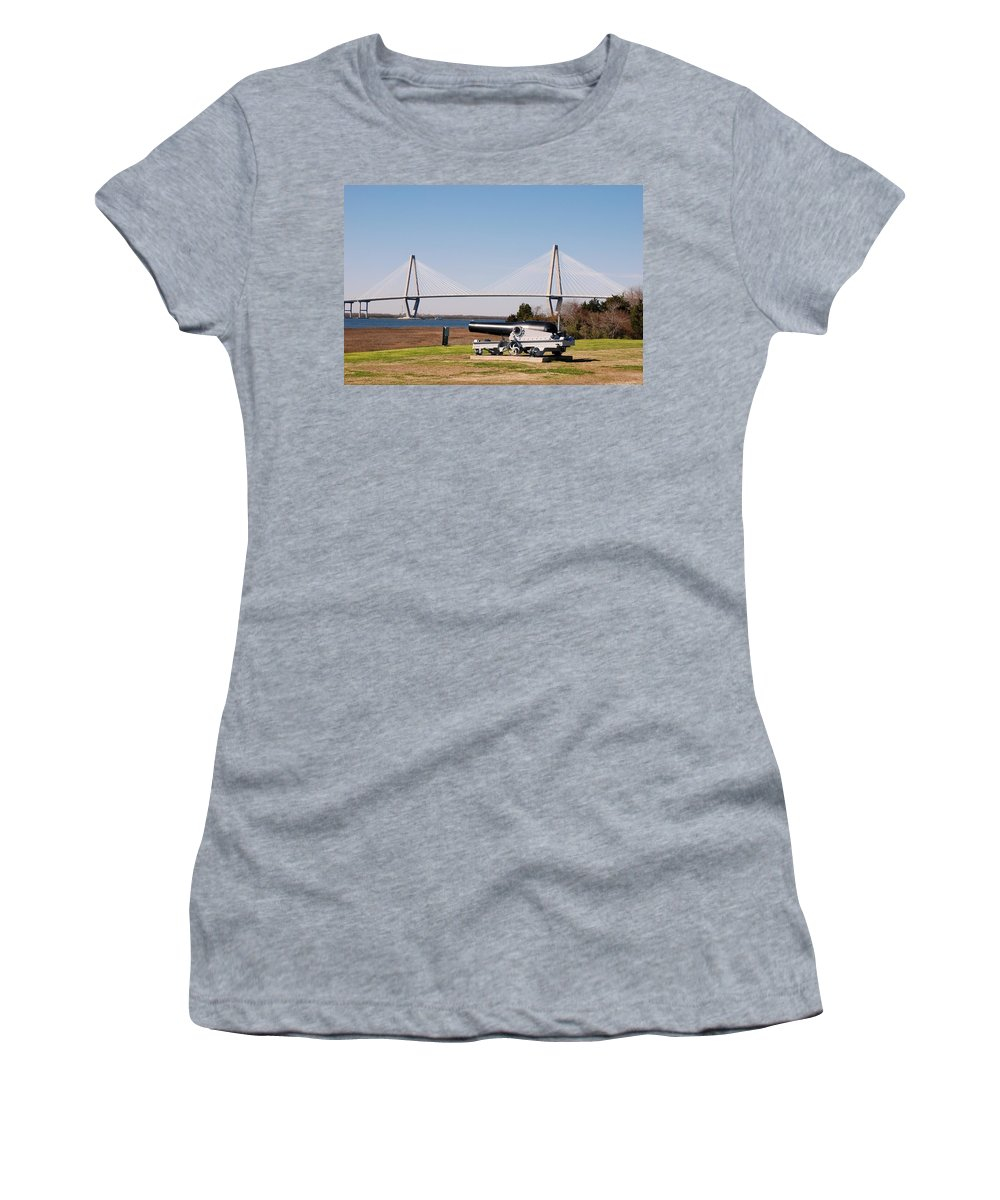 Photography Women's T-Shirt featuring the photograph Ravanel Bridge From The Patriot Point by Susanne Van Hulst