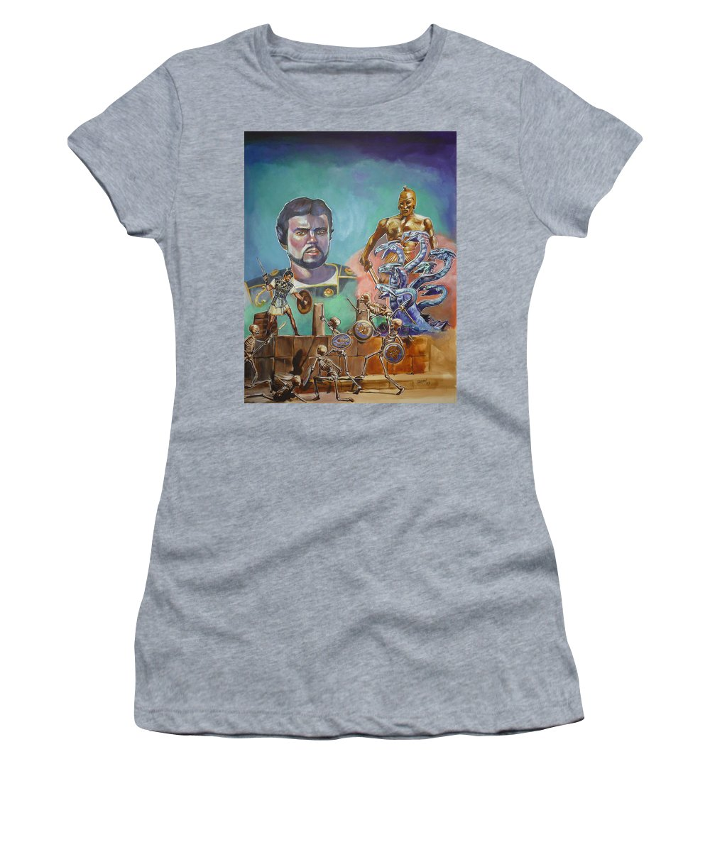 Jason Argonauts Hydra Talos Skeletons Movie Harryhausen Fantasy Sci-fi Women's T-Shirt (Athletic Fit) featuring the painting Ray Harryhausen Tribute Jason And The Argonauts by Bryan Bustard