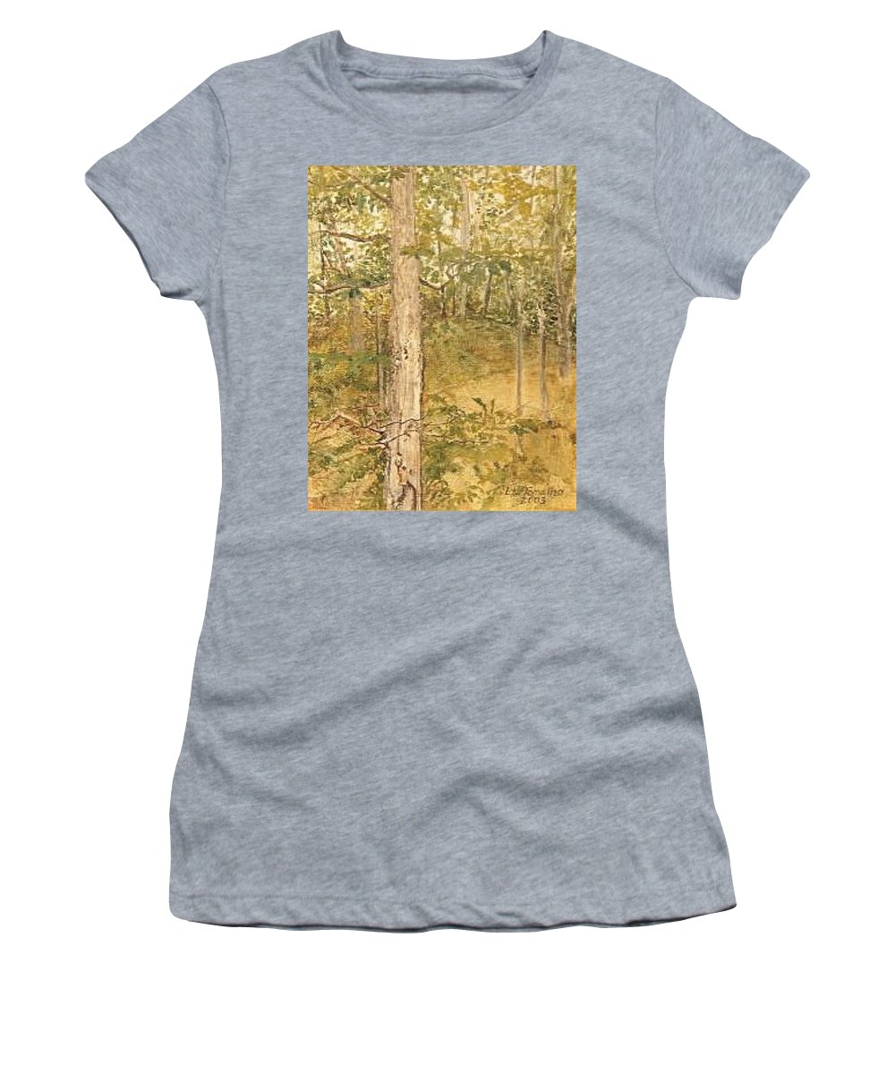 Trees Women's T-Shirt (Athletic Fit) featuring the painting Raystown Lake by Leah Tomaino