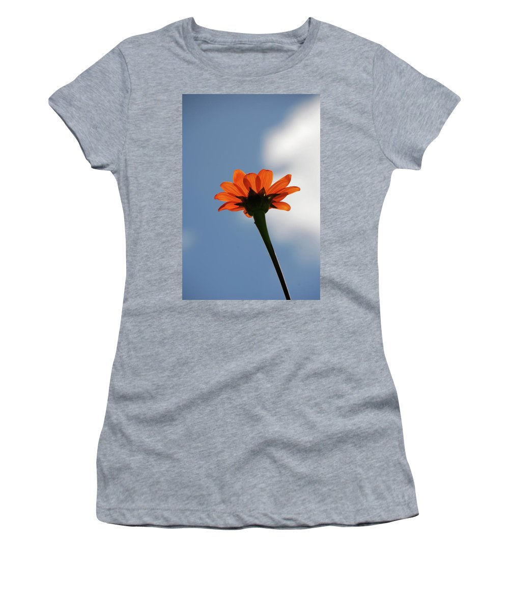 Orange Flower Women's T-Shirt featuring the photograph Reach For The Sky by Debbie Karnes