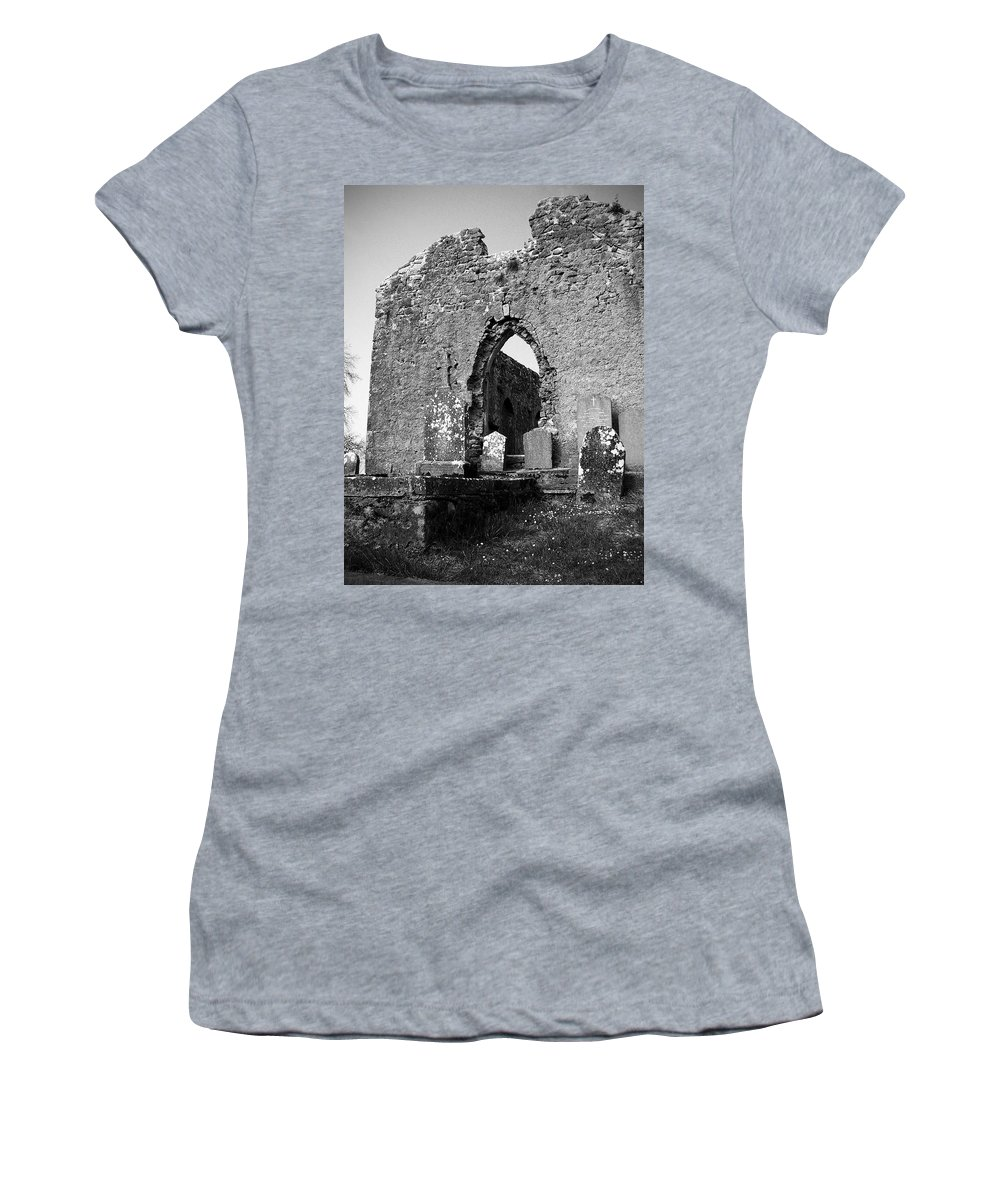 Ireland Women's T-Shirt (Athletic Fit) featuring the photograph Rear Entrance Fuerty Church Roscommon Ireland by Teresa Mucha
