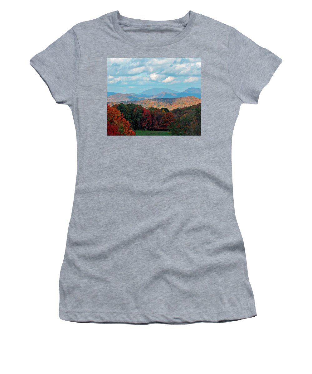 Blue Ridge Women's T-Shirt featuring the photograph Red And Green Blue Ridge Mountains by Gary Adkins