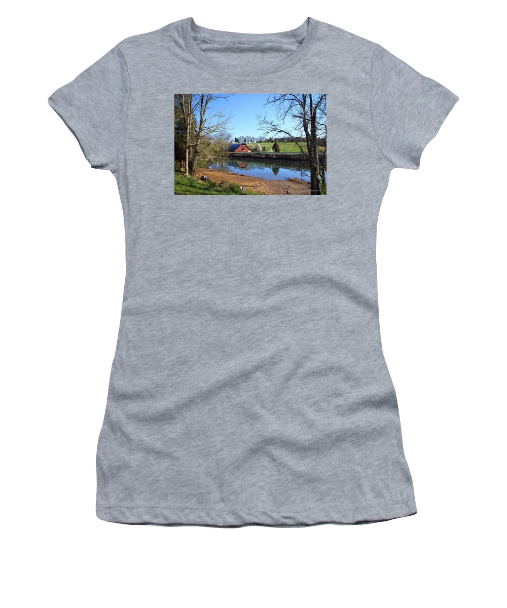 Landscape Women's T-Shirt featuring the photograph Red Barn And Pond by Todd Blanchard
