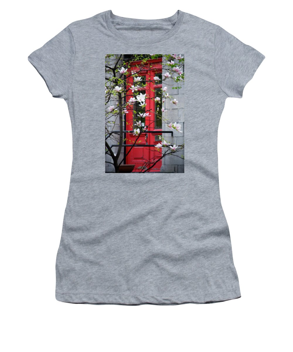Red Door Women's T-Shirt (Athletic Fit) featuring the photograph Red Door by Lisa Knechtel