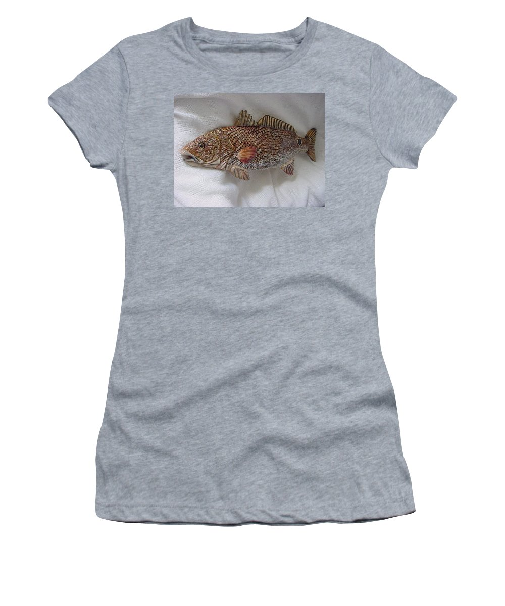 Fish Women's T-Shirt (Athletic Fit) featuring the relief Red Drum Two-wooden Living Series by Lisa Ruggiero