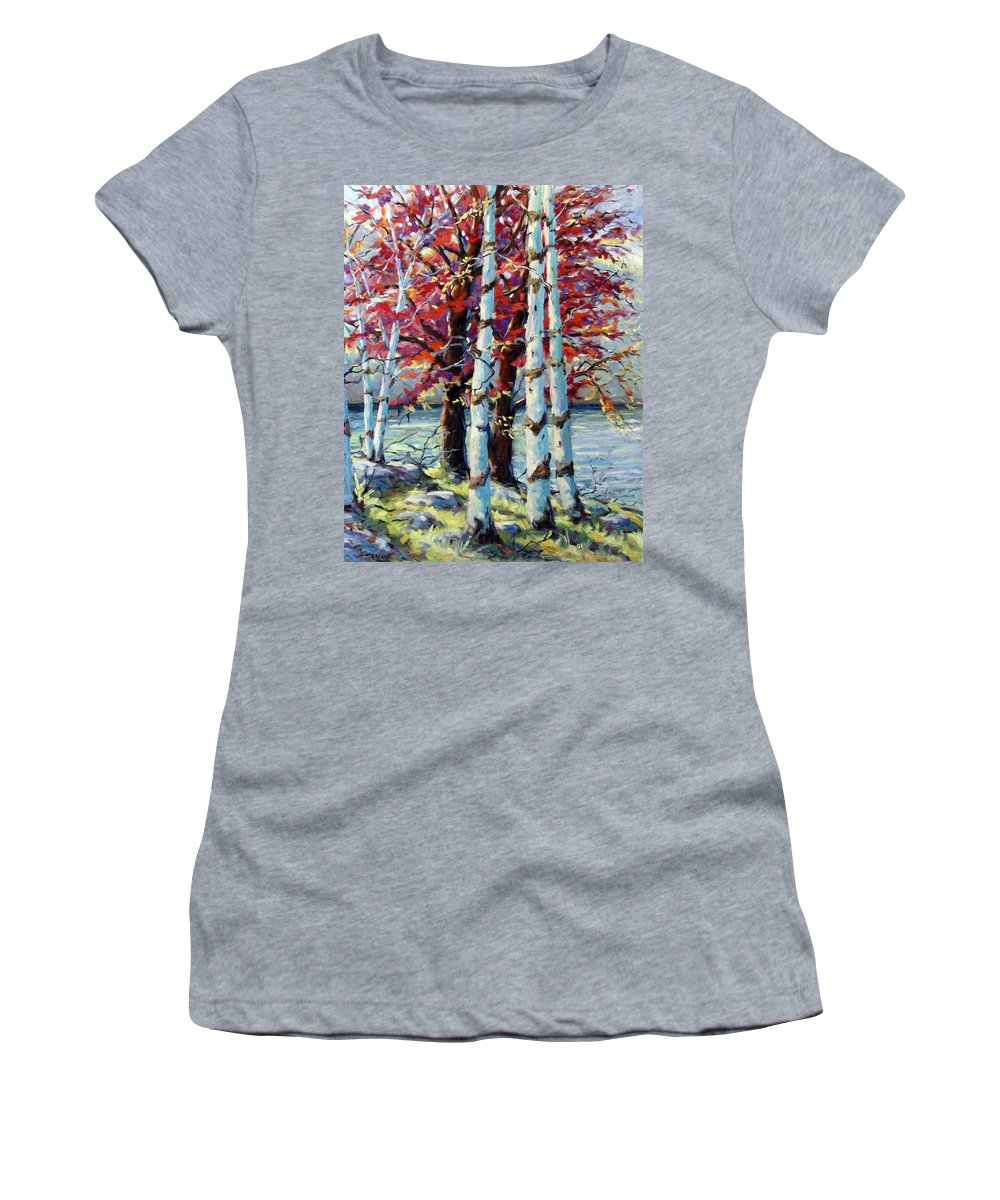 Birches Women's T-Shirt (Athletic Fit) featuring the painting Red Splash by Richard T Pranke