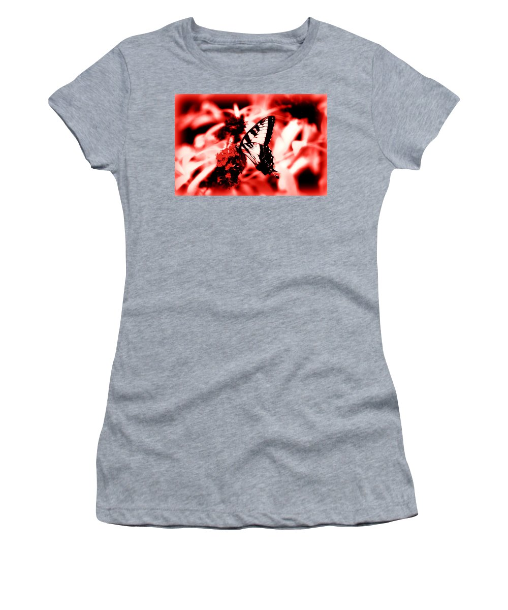 Red Women's T-Shirt (Athletic Fit) featuring the photograph Red by Tina Meador