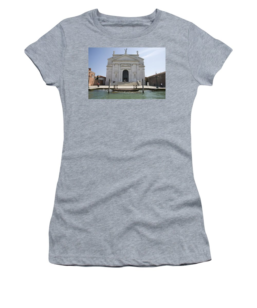Redentore Women's T-Shirt (Athletic Fit) featuring the photograph Redentore Church In Venice by Ian Middleton