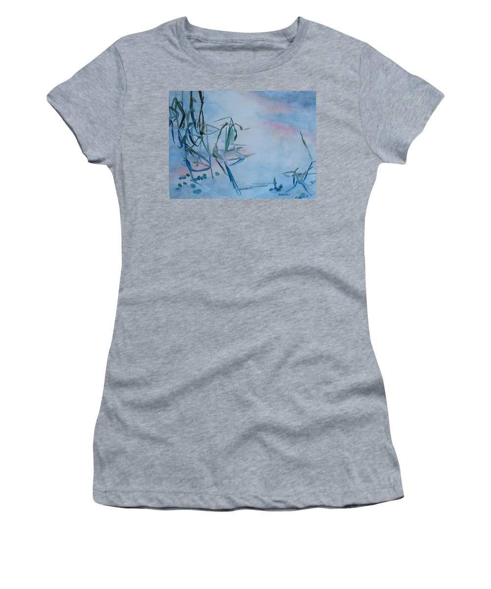 Reeds Women's T-Shirt (Athletic Fit) featuring the painting Reeds At Sunset by Jenny Armitage