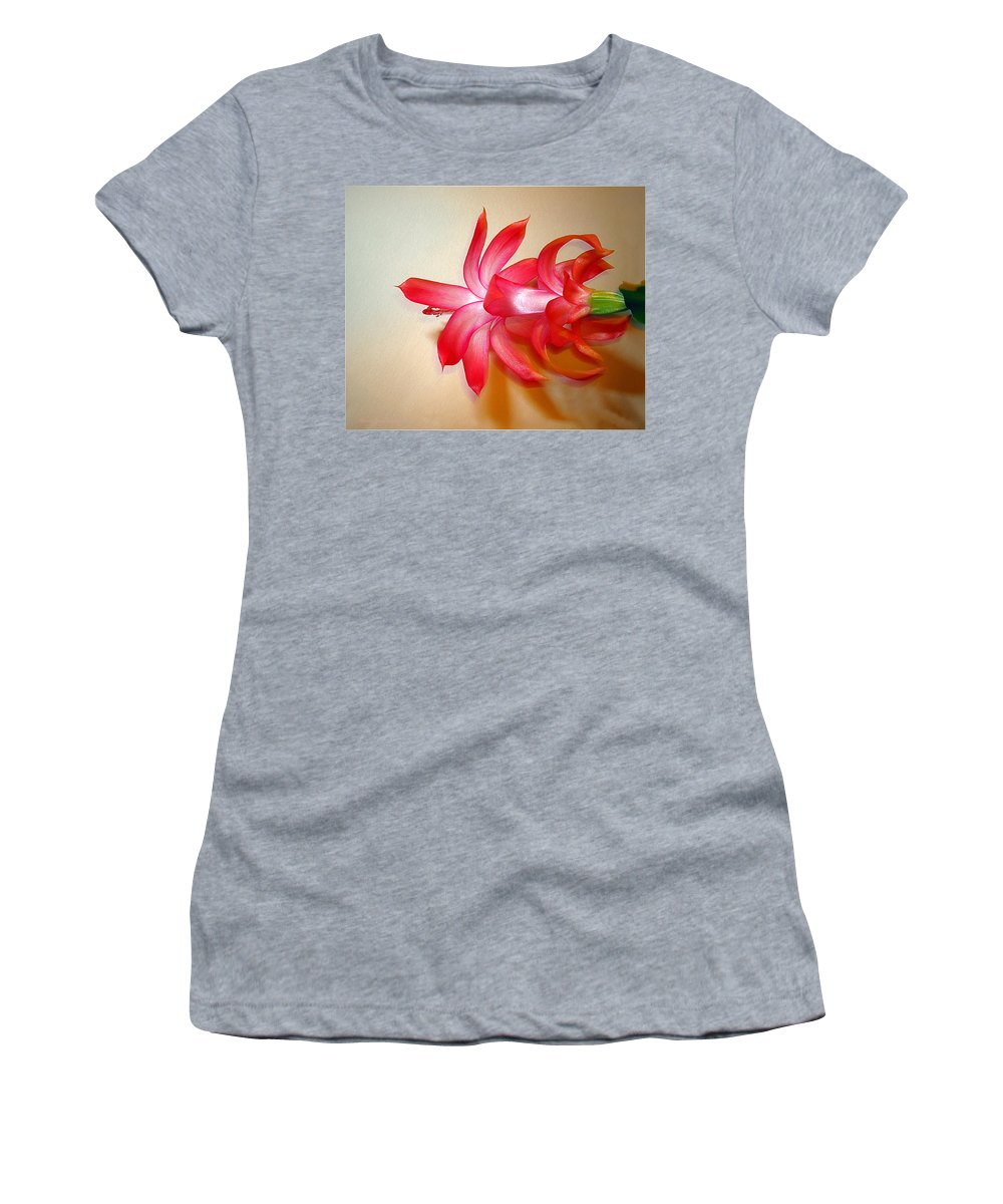 Christmas Cactus Women's T-Shirt (Athletic Fit) featuring the photograph Refined Elegance by Joyce Dickens