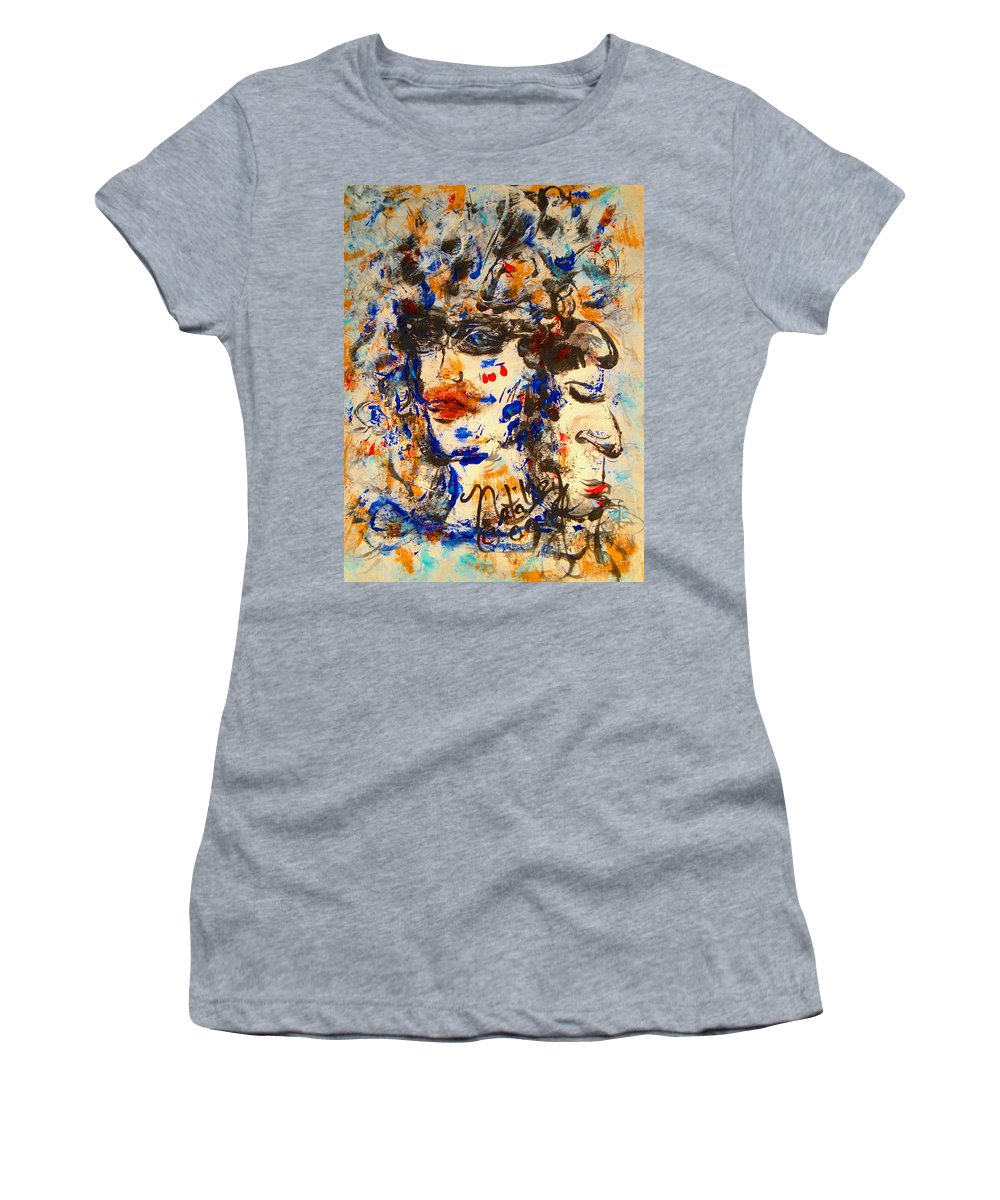 Free Expressionism Women's T-Shirt featuring the painting Reflections by Natalie Holland