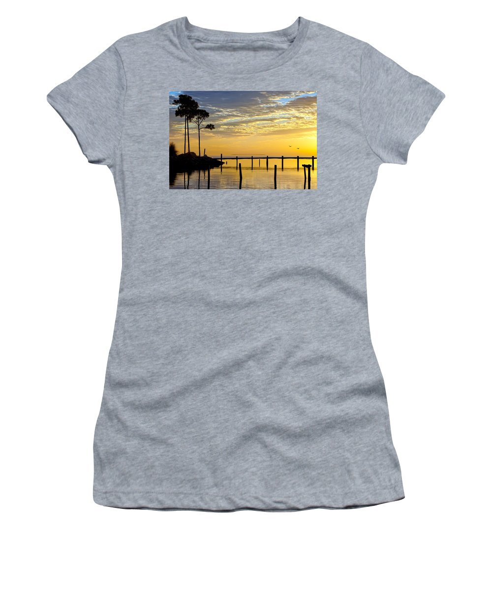 Sunrise Women's T-Shirt (Athletic Fit) featuring the photograph Reflections Of You by Janet Fikar
