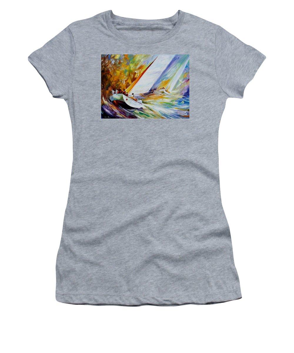 Afremov Women's T-Shirt featuring the painting Regatta by Leonid Afremov