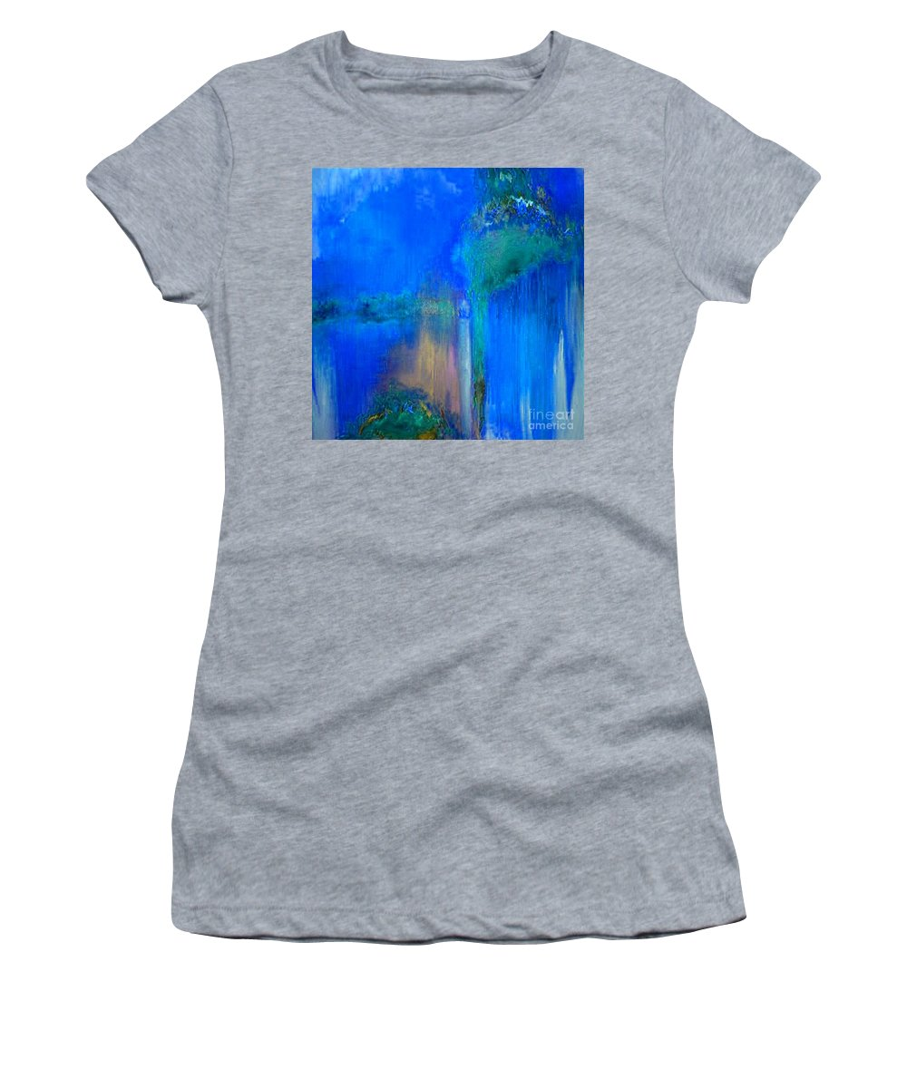 Regret Time Women's T-Shirt (Athletic Fit) featuring the painting Regret Time by Dragica Micki Fortuna