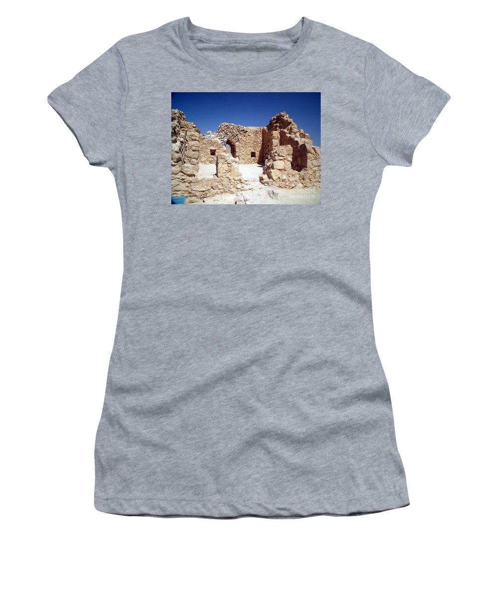 Massada Women's T-Shirt featuring the photograph Remains Of The Massada Synagogue by Avi Horovitz