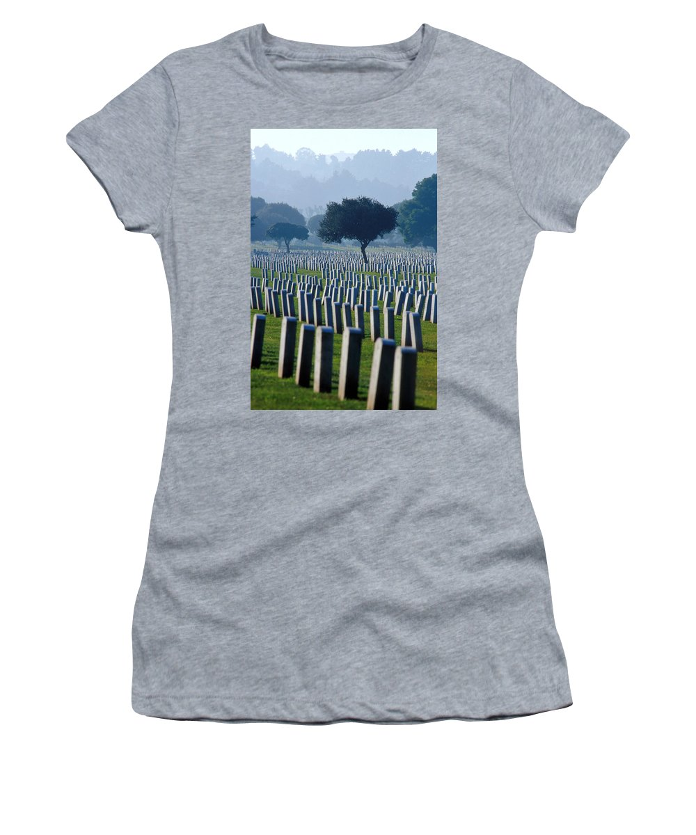 National Cemetery Women's T-Shirt (Athletic Fit) featuring the photograph Remembering Walt Bem by Jerry McElroy