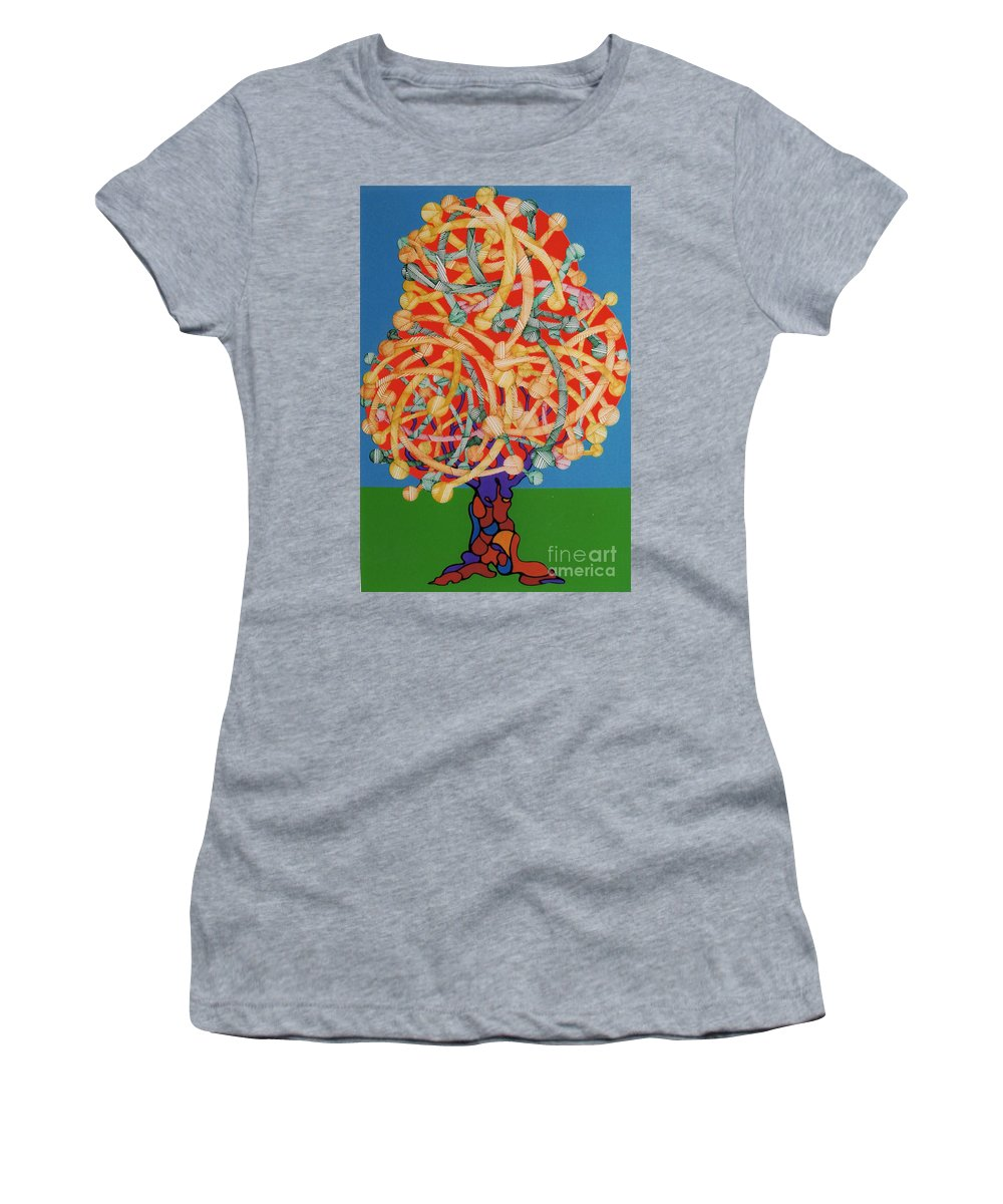 Apple Tree Women's T-Shirt (Athletic Fit) featuring the drawing Rfb0504 by Robert F Battles
