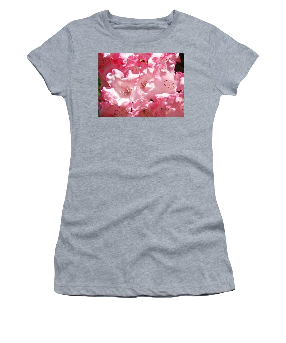 Rhodies Women's T-Shirt (Athletic Fit) featuring the photograph Rhododendrons Flowers Art Print Pink Rhodies Baslee Troutman by Baslee Troutman