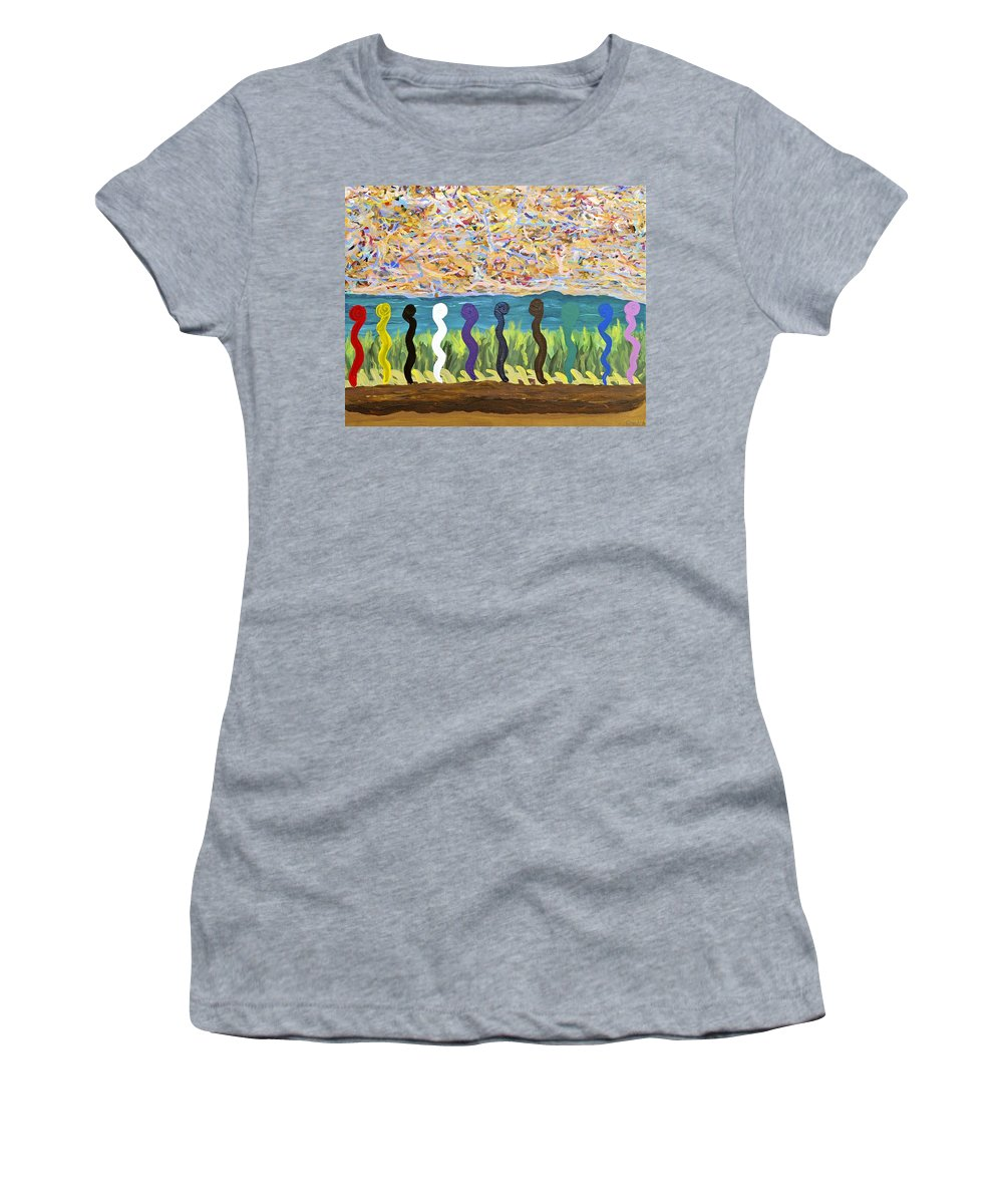 Abstract Women's T-Shirt (Athletic Fit) featuring the painting Ribbons In The Sky by Sara Credito