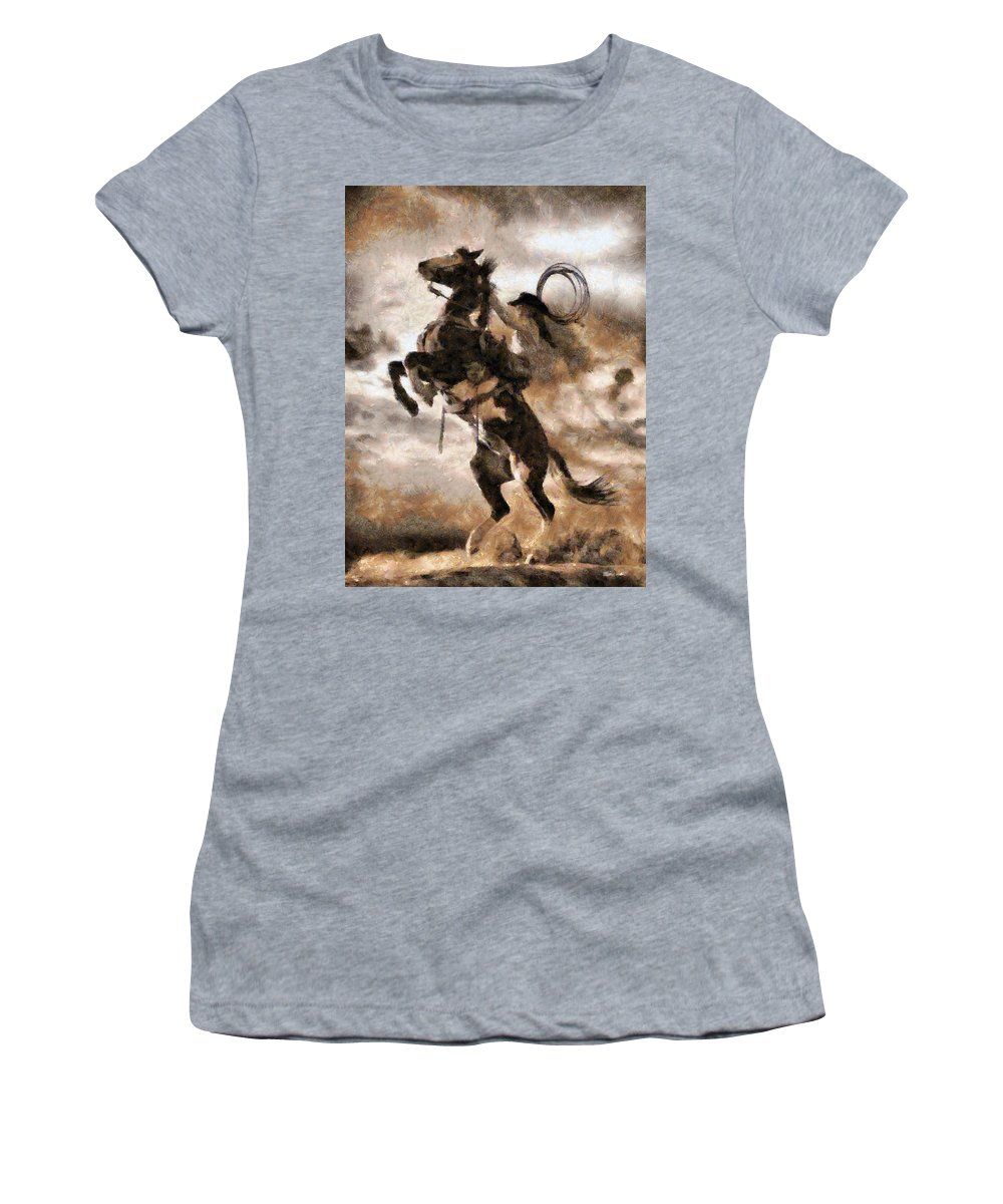 Animal Women's T-Shirt featuring the digital art Rider by Ronald Bolokofsky