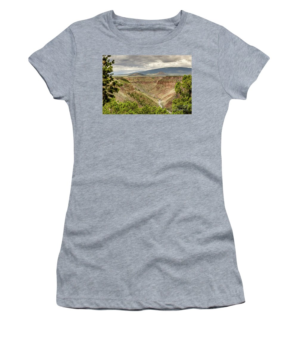 Rio Grande Gorge At Wild Rivers Recreation Area Women's T-Shirt featuring the photograph Rio Grande Gorge At Wild Rivers Recreation Area by Debra Martz