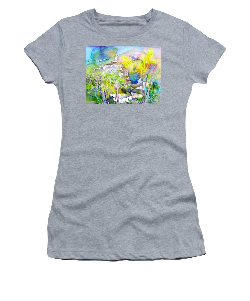 Watercolour Travel Painting Of A Village In La Rioja Spain Women's T-Shirt featuring the painting Rioja Spain 04 by Miki De Goodaboom
