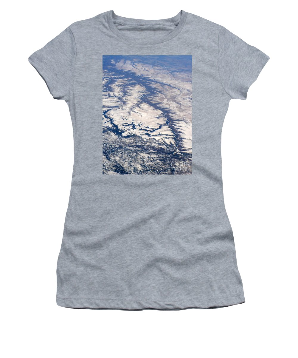 Aerial Women's T-Shirt featuring the photograph River Valley Aerial by Carol Groenen