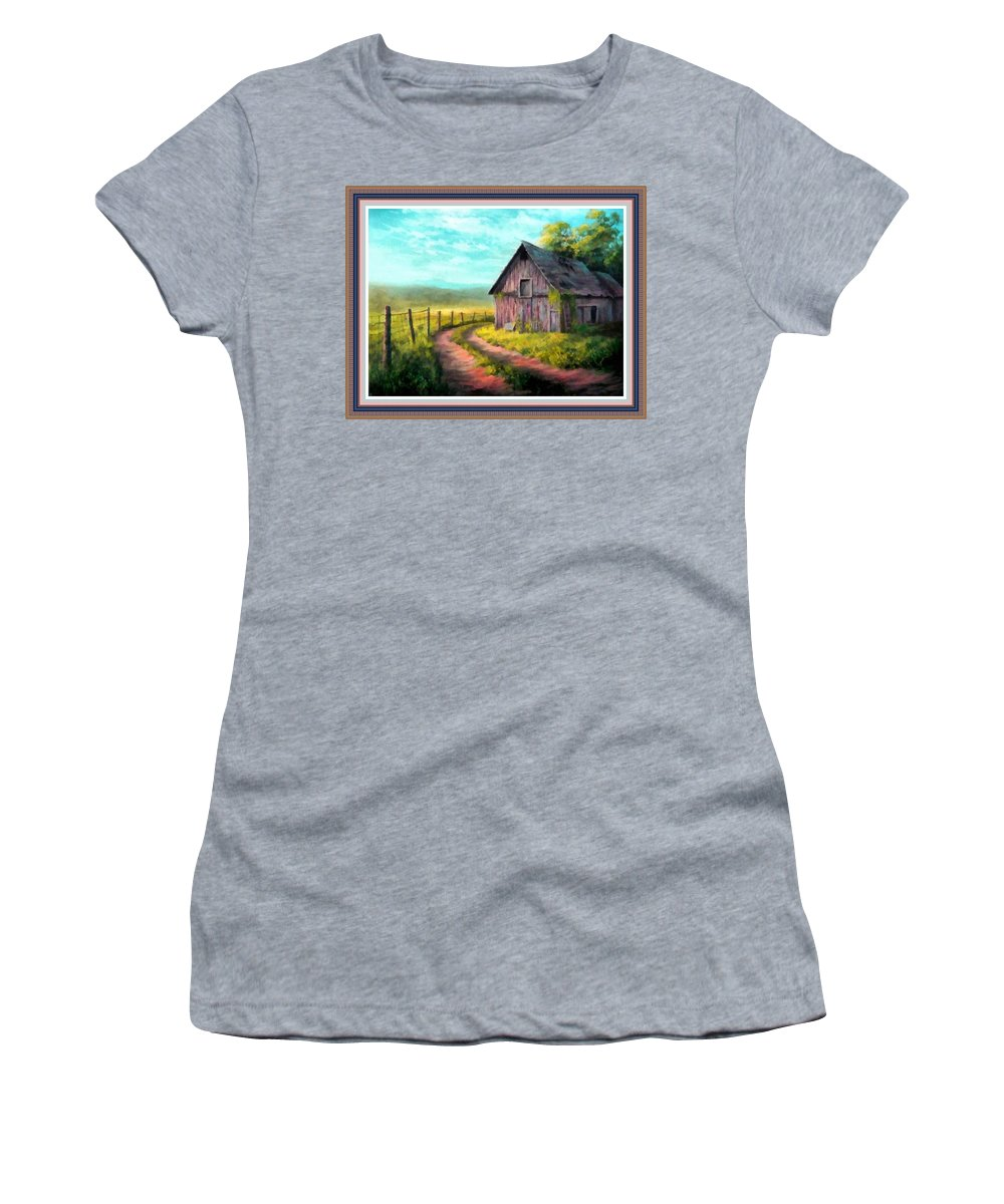 Farm Women's T-Shirt featuring the painting Road On The Farm Haroldsville L B With Alt. Decorative Ornate Printed Frame.  by Gert J Rheeders