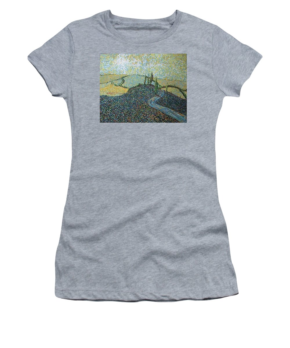Landscape Women's T-Shirt (Athletic Fit) featuring the painting Road To Tuscany by Stefan Duncan