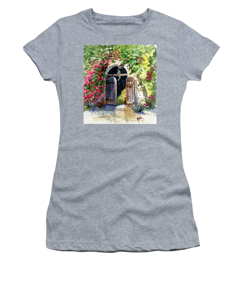 Garden Gate Women's T-Shirt (Athletic Fit) featuring the painting Rock Springs Gate by Marilyn Smith