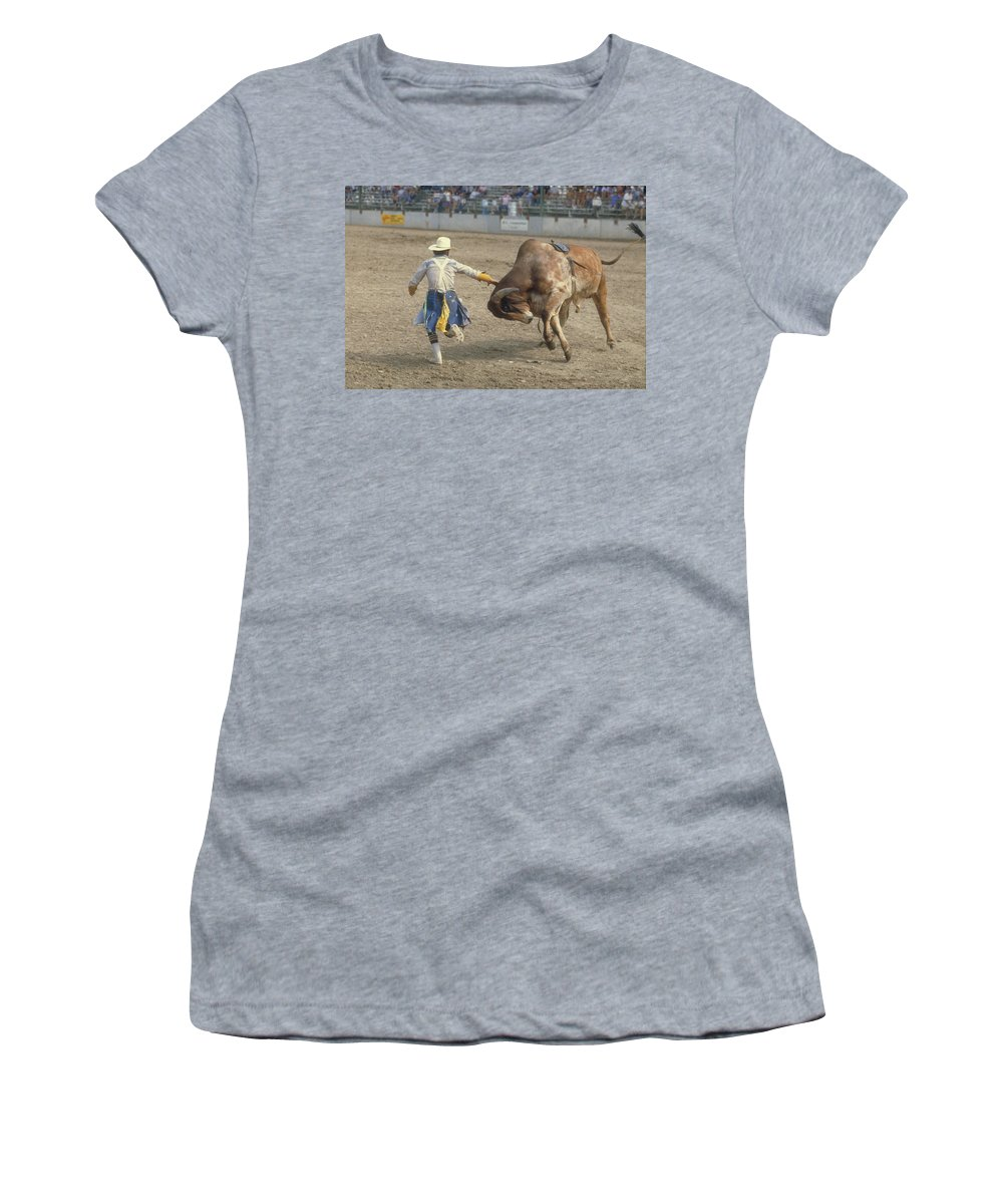 Rodeo Women's T-Shirt (Athletic Fit) featuring the photograph Rodeo Clown by Jerry McElroy