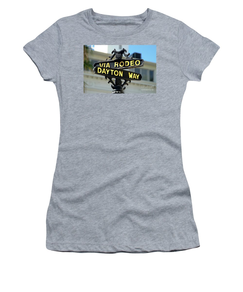 Rodeo Drive Women's T-Shirt (Athletic Fit) featuring the photograph Rodeo Drive In Beverly Hills by Mariola Bitner