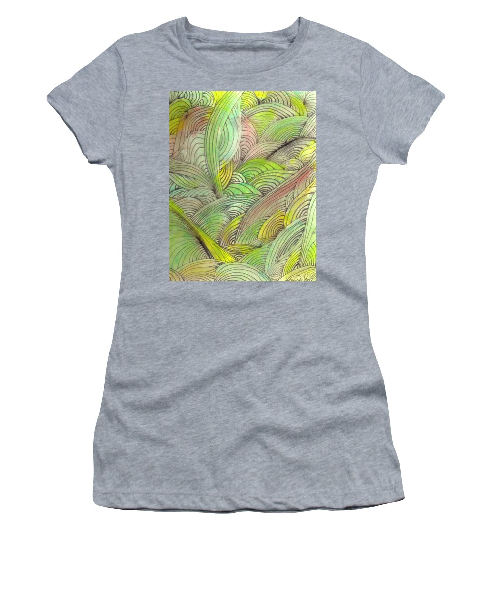 Abstract Women's T-Shirt (Athletic Fit) featuring the painting Rolling Patterns In Greens by Wayne Potrafka