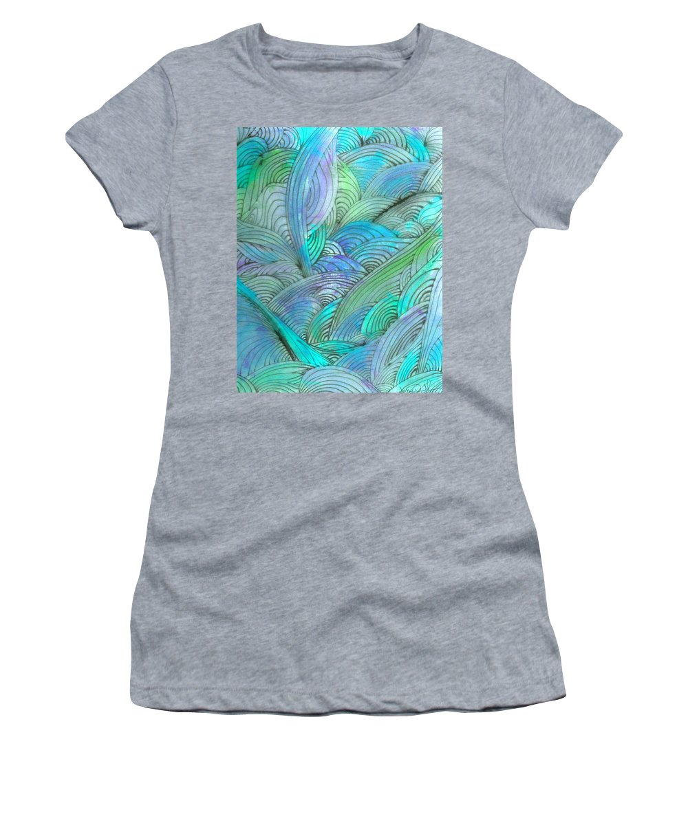 A Women's T-Shirt (Athletic Fit) featuring the painting Rolling Patterns In Teal by Wayne Potrafka