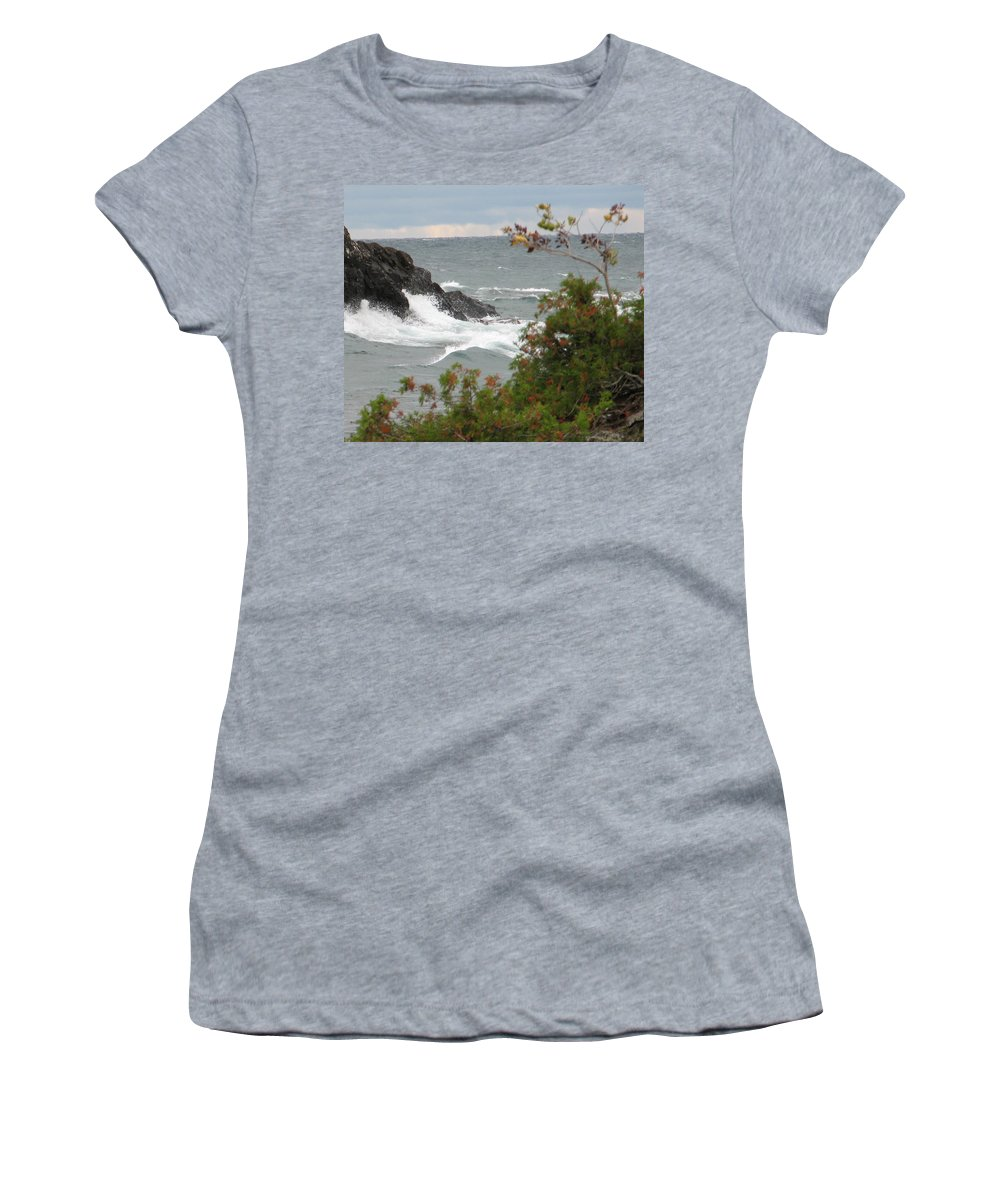 Waves Women's T-Shirt (Athletic Fit) featuring the photograph Rolling Storm by Kelly Mezzapelle