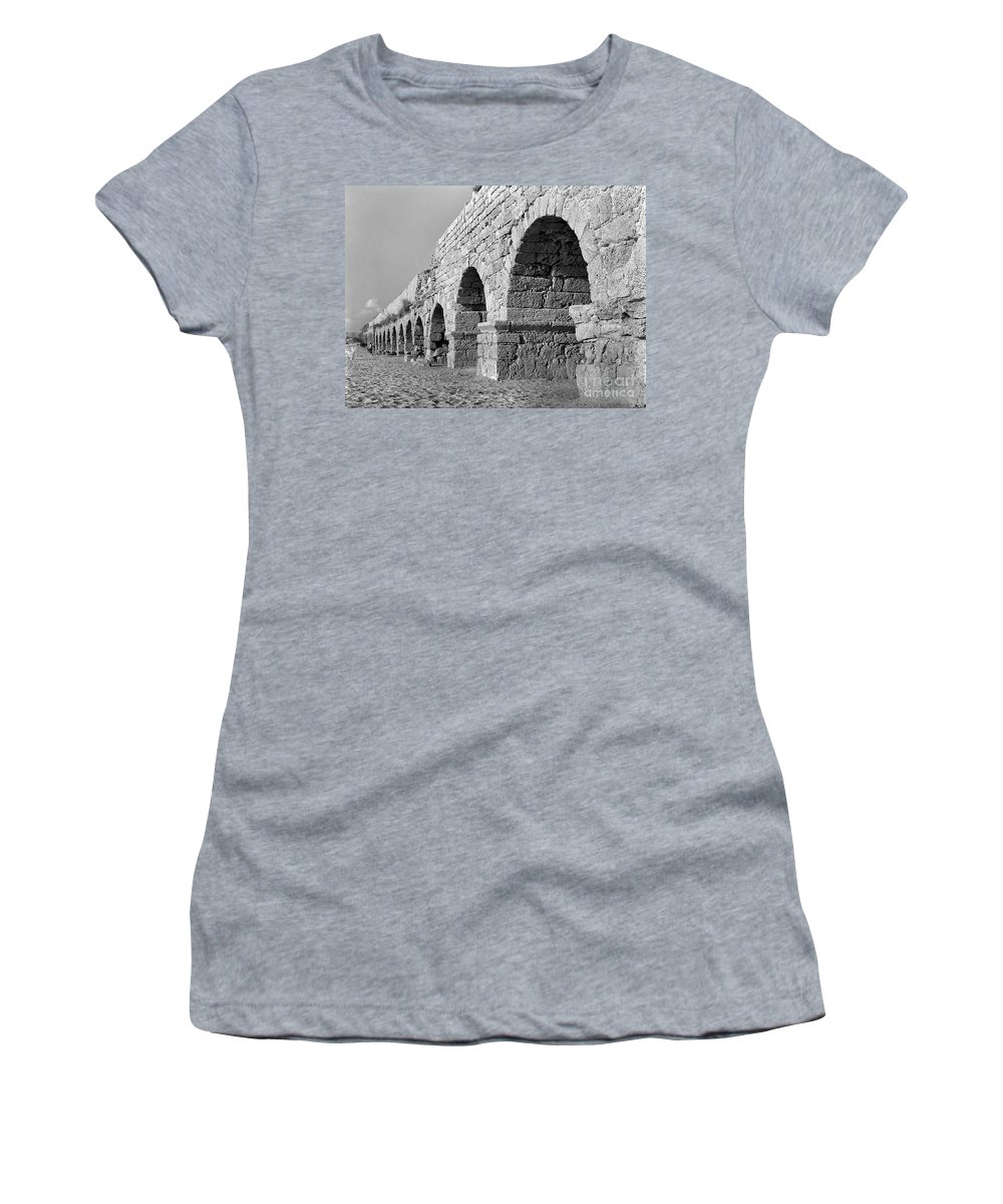 Ancient Women's T-Shirt (Athletic Fit) featuring the photograph Roman Aqueduct by Tal Bedrack