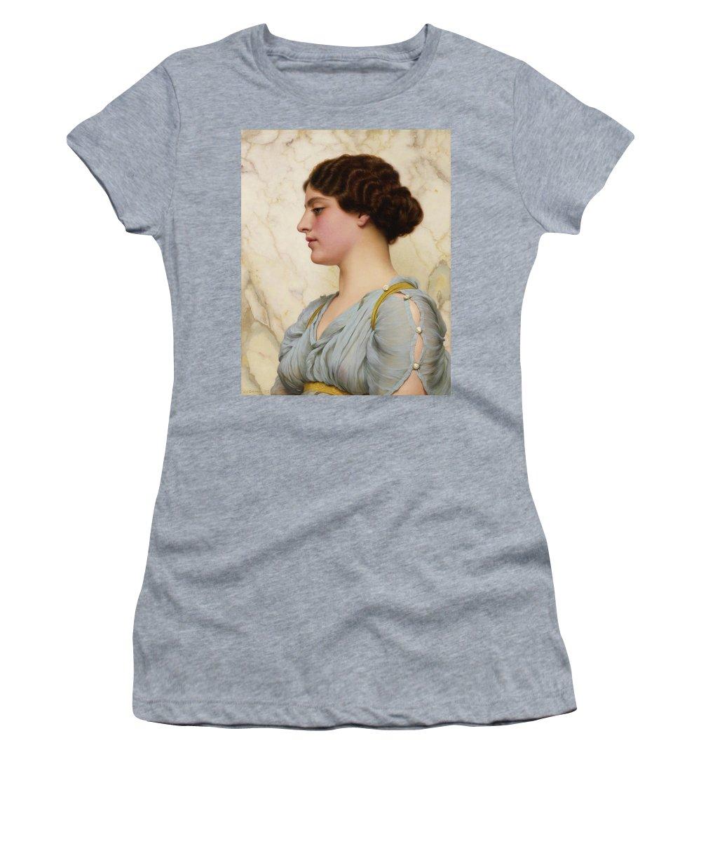 John William Godward  A Roman Beauty Women's T-Shirt (Athletic Fit) featuring the painting Roman Beauty by John William Godward