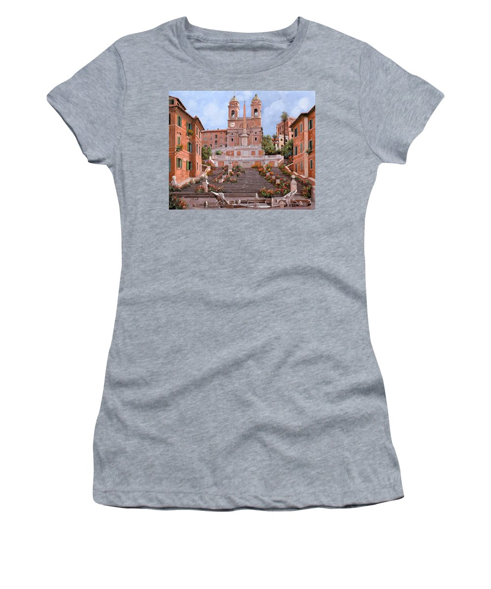 Rome Women's T-Shirt (Athletic Fit) featuring the painting Rome-piazza Di Spagna by Guido Borelli